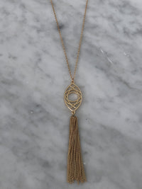 Gold Oval Tassel Necklace