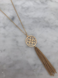 Gold Circle Design Tassel Necklace