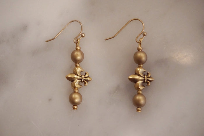 LA2LA Handmade Gold Fleur De Lis Charm Bar Earrings