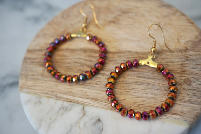 LA2LA Handmade Shiny Red & Orange Beaded Hoop Earrings