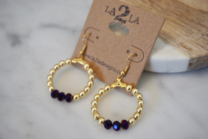 LA2LA Handmade Dark Purple & Gold Beaded Hoop Earrings