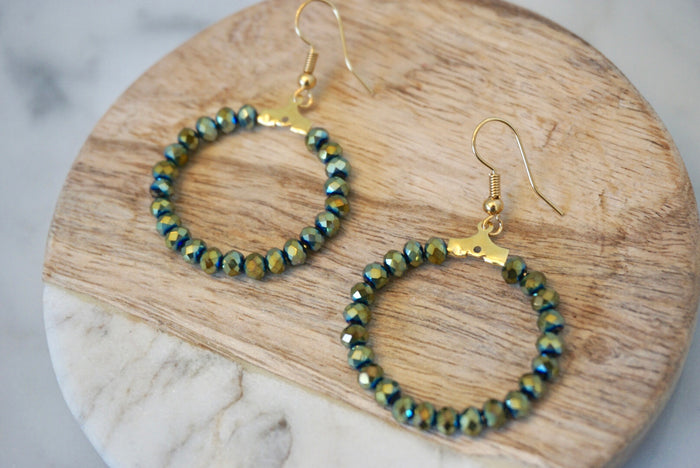 LA2LA Handmade Shiny Green Beaded Hoop Earrings
