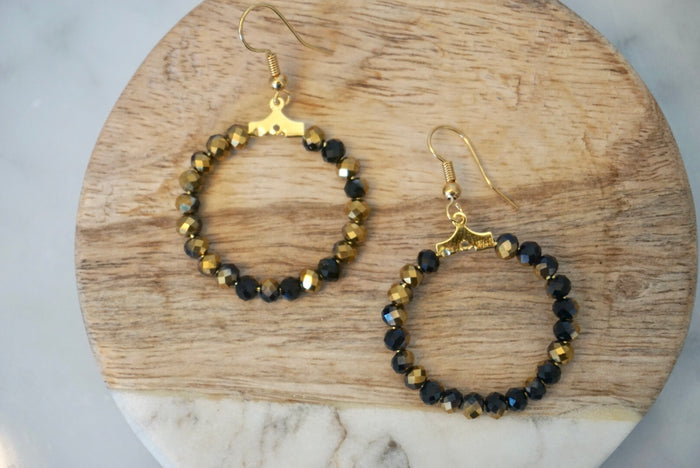 LA2LA Handmade Shiny Black & Gold Beaded Hoop Earrings