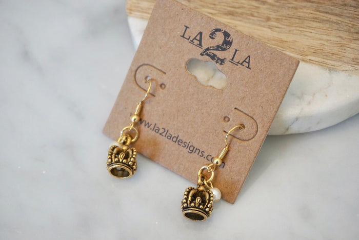 LA2LA Handmade Crown With White Bead Charm Earrings