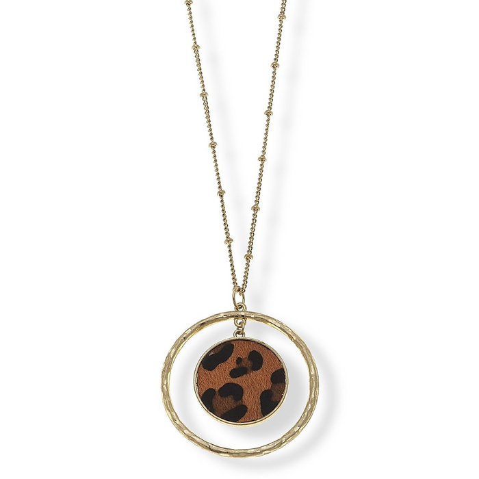 Lepard Print Circle Pendant Worn Gold Necklace
