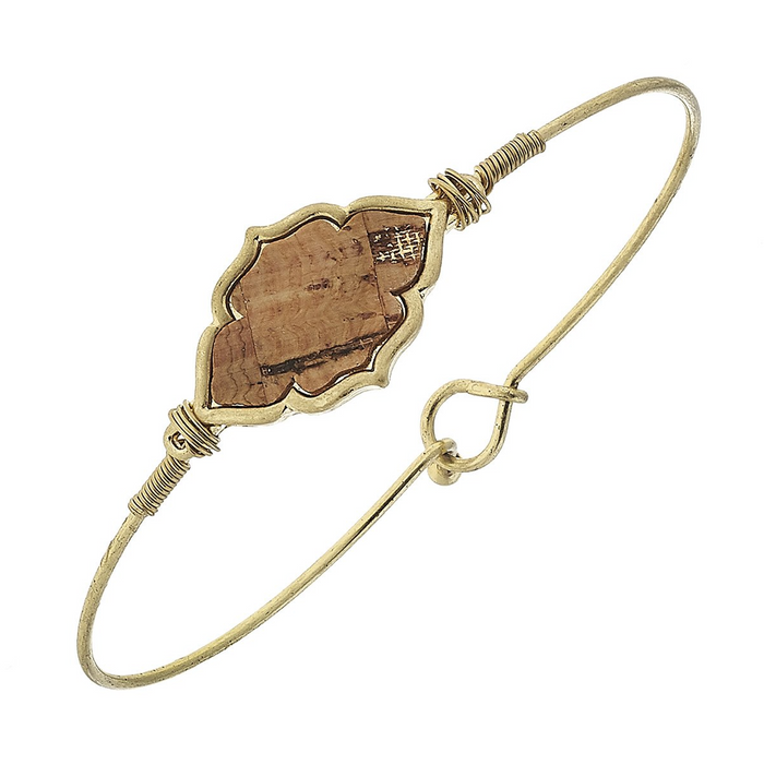 Moroccan Cork Charm With Worn Gold Latch Bangle Bracelet