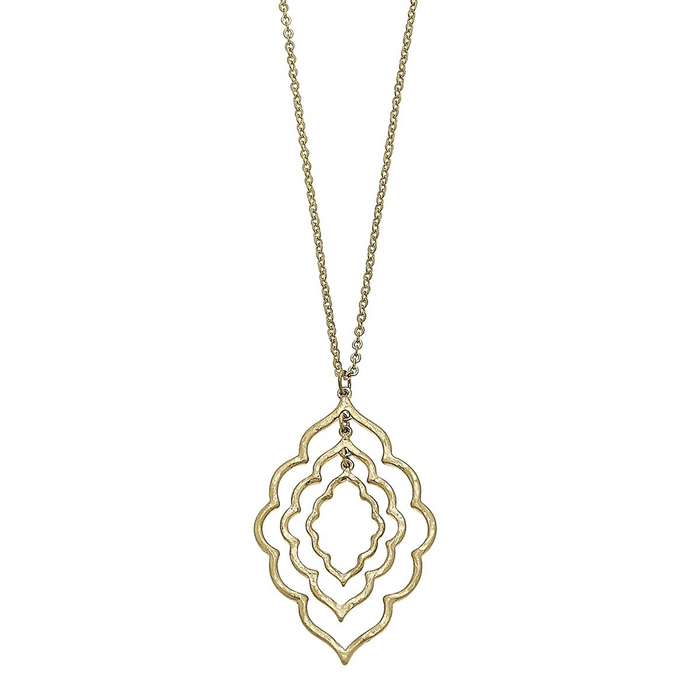 Moroccan Worn Gold Triple Pendant Necklace