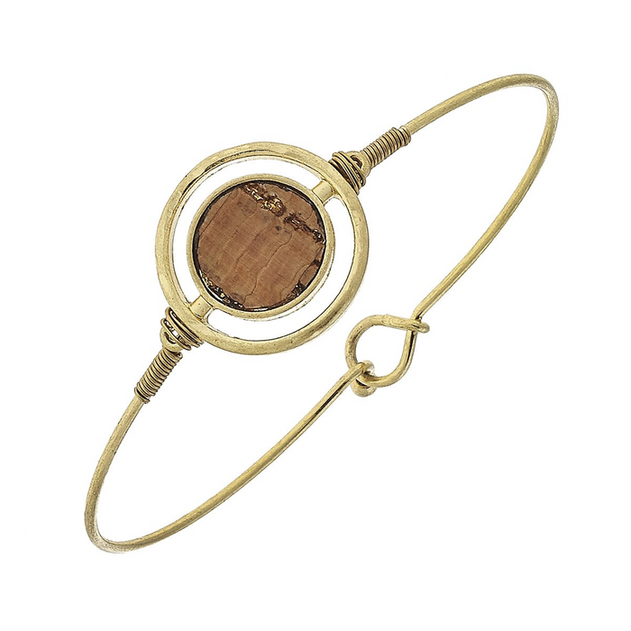 Round Circle Cork Charm With Worn Gold Latch Bangle Bracelet