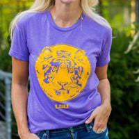 Unisex Purple And Gold Tiger Face Louisiana T Shirt Top
