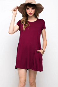 Burgundy Top Solid Trapeze Knit Pocket Dress