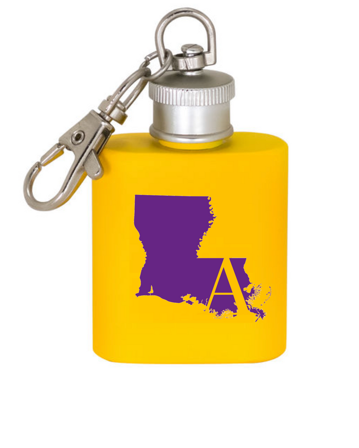 (Purple is lighter than photographed) Purple And Gold Louisiana Flask Keychain