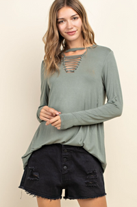 Olive Green Jersey Braid Cutout Front Knit Top