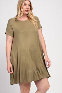 Plus Size Olive Green Trapeze Knit Pocket Dress Top