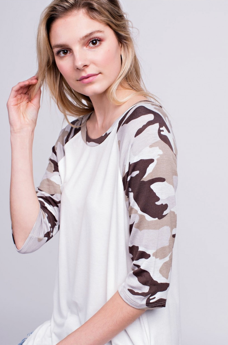 Taupe Brown White Camouflage Athletic Top