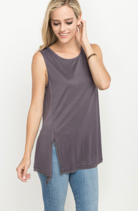 Dark Grey Silver Self Tie Tank Top