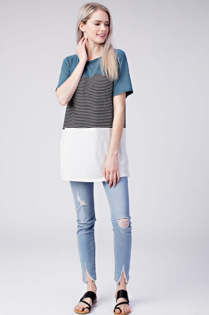 Dark Aqua Blue Stripped Color Block Side Slit Top