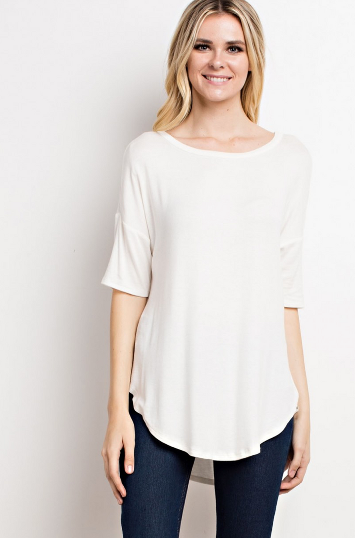 Modal Rib Back Pleated High And Low Knit Top