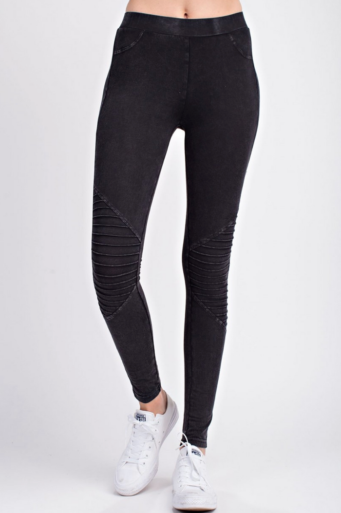 Black Mineral Washed Motto Pant Leggings
