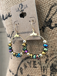 LA2LA Handmade Mardi Gras Gold Green And Purple Bead Hoop Earrings