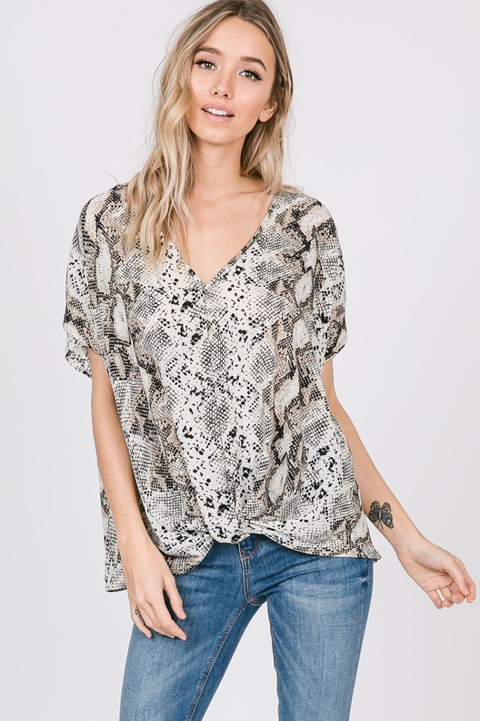 Snake Print Twisted Hem Top