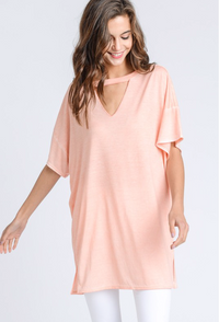 Mineral Wash Cutout Front Tunic Top