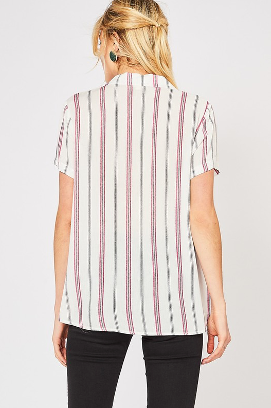Striped Collared Button-up Top
