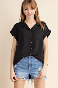 Washed Twill Button Down Pocketed Shirt Top