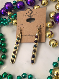 LA2LA Handmade Mardi Gras Beaded Bar Earrings