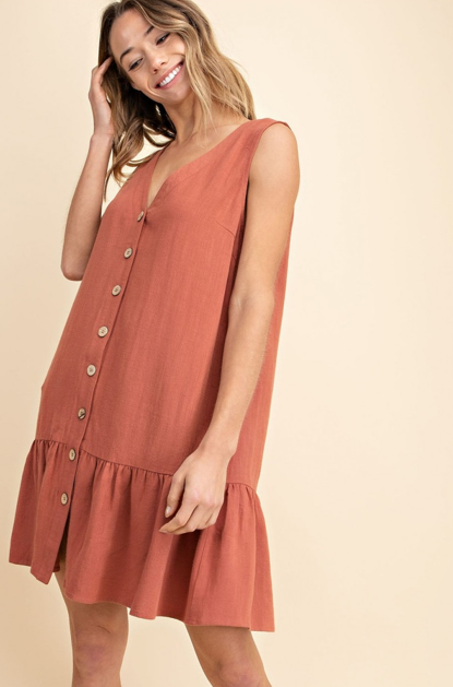 Linen Button Down Tiered Hem Dress