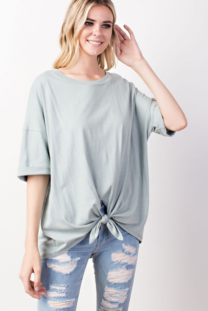 Tie Front Rolled-Up Sleeve Top