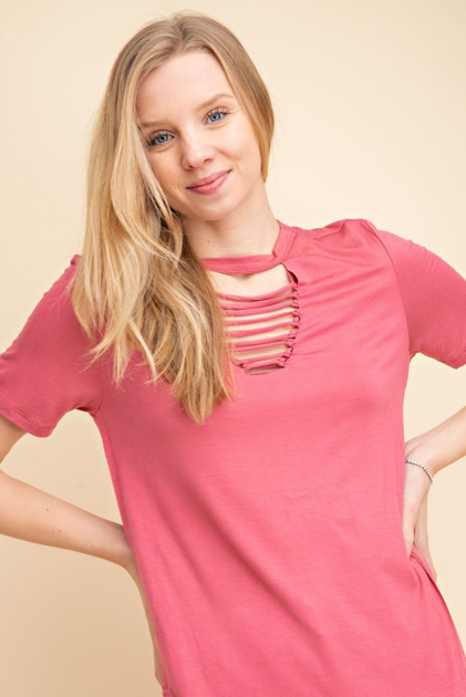 Cutout Front Jersey Knit Top