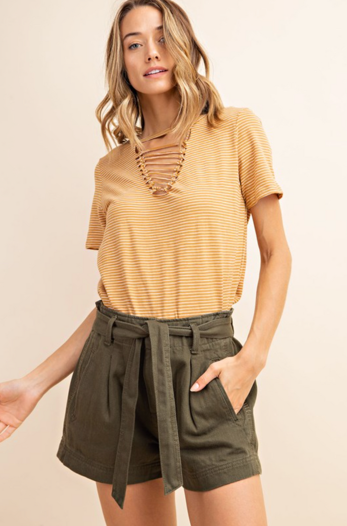Gold And Ivory White Striped Cutout V-Neck Top