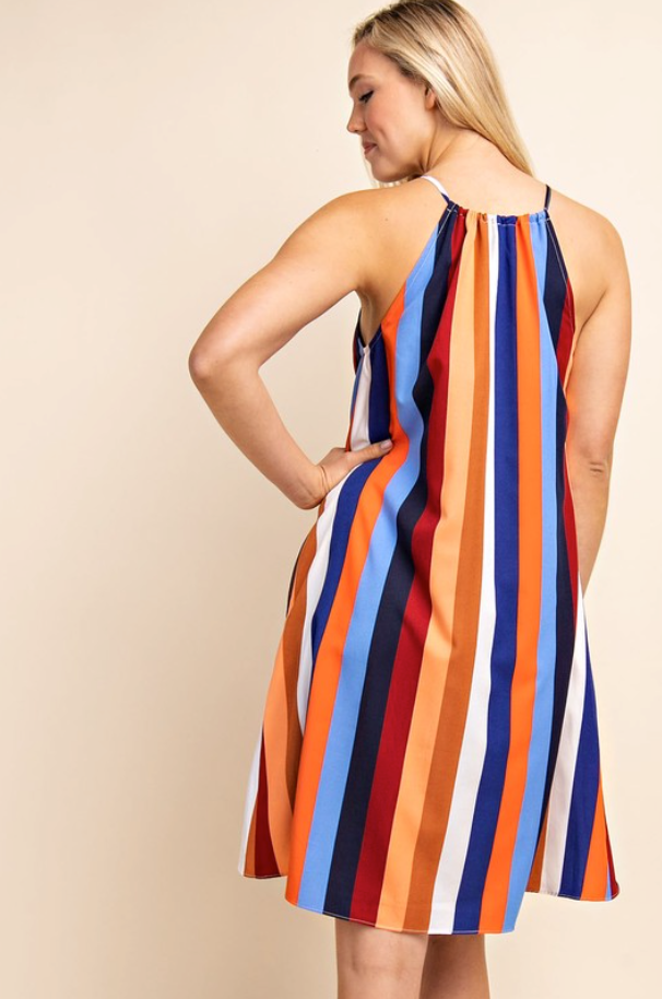 Vertical Striped Multi Color Dress Top