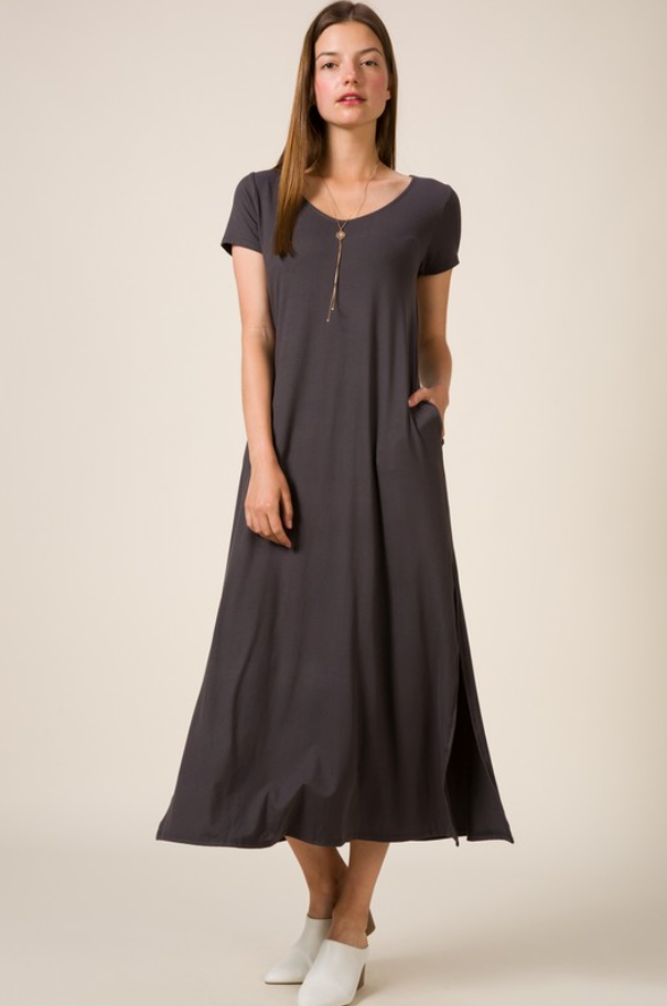 V-Neck Side Slit Maxi Dress Top