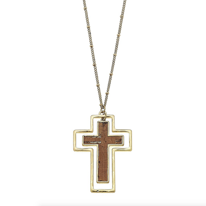 Worn Gold With Cork Cross Charm Pendant Necklace