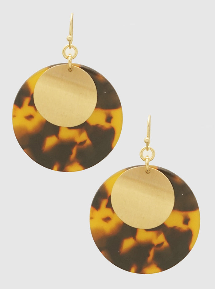 ACETATE METL ROUND SHAPE DROP EARRINGS 51
