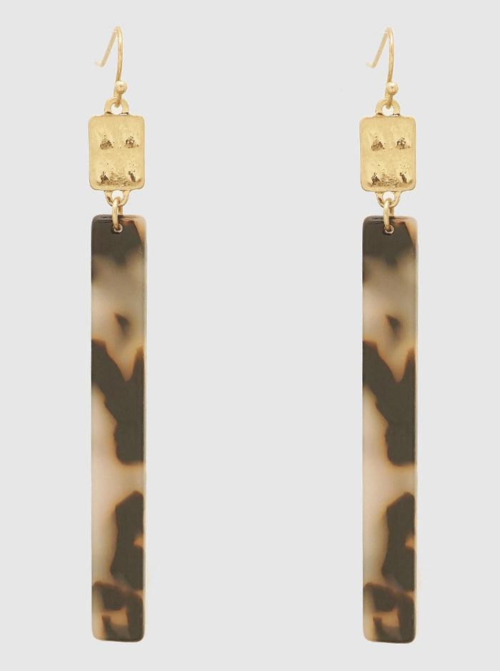 WORN GOLD AND GREY TORTOISE ACETATE RECTANGLE HAMMERED METAL EARRINGS