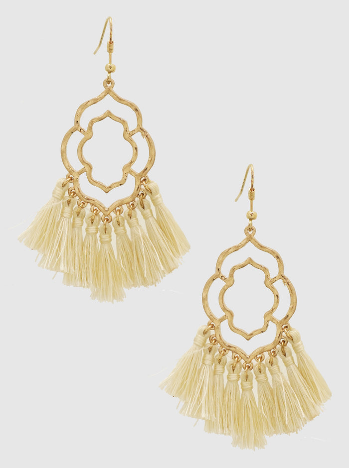 WHITE BEIGE DOUBLE ORNATE SHAPE THREAD TASSELS DROP EARRINGS 3