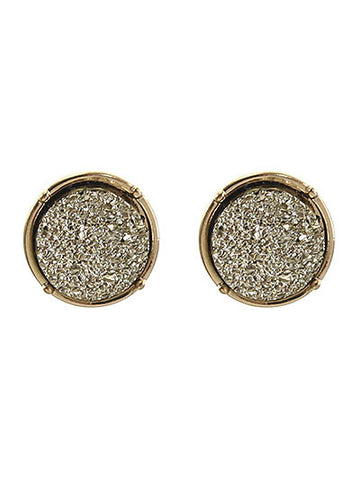 Druzy Post Round Gold Earring