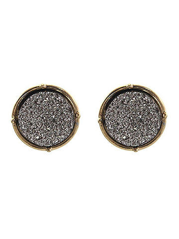 Druzy Round Silver Post Earring