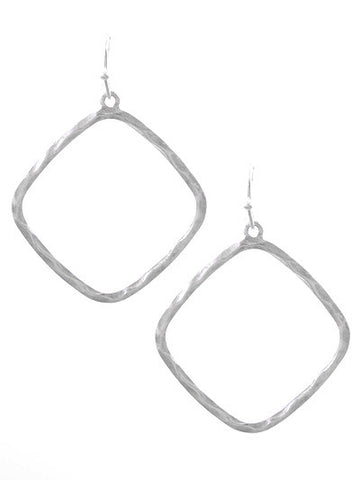 Silver Hammered Fish Hook Earrings