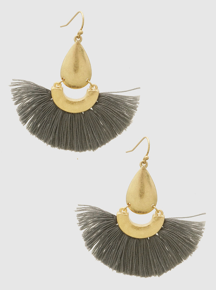 GREY FAN SHAPE THRAD TASSELS DROP EARRINGS 2