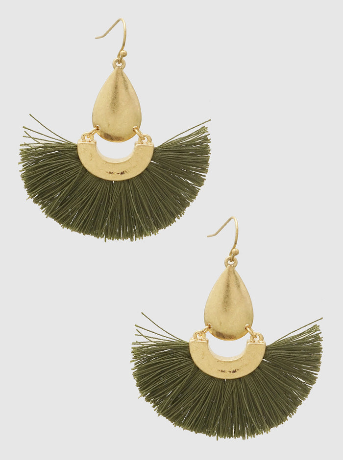 OLIVE GREEN FAN SHAPE THRAD TASSELS DROP EARRINGS  3