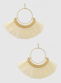 FAN SHAPE THRAD TASSELS EARRINGS 2