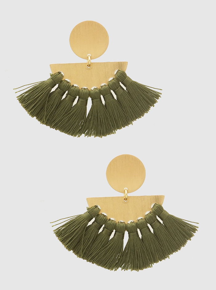 OLIVE GREEN AND GOLD FAN SHAPE THREAD TASSELS ROUND METAL EARRINGS