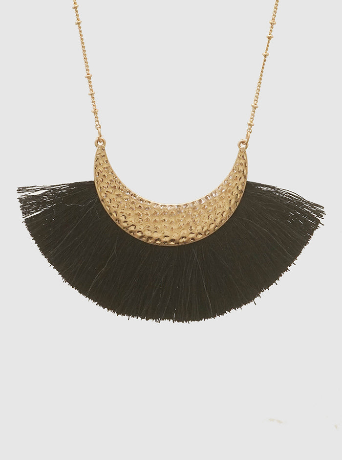 BLACK AND GOLD HAMMERED METAL THREAD TASSEL LONG NECKLACE