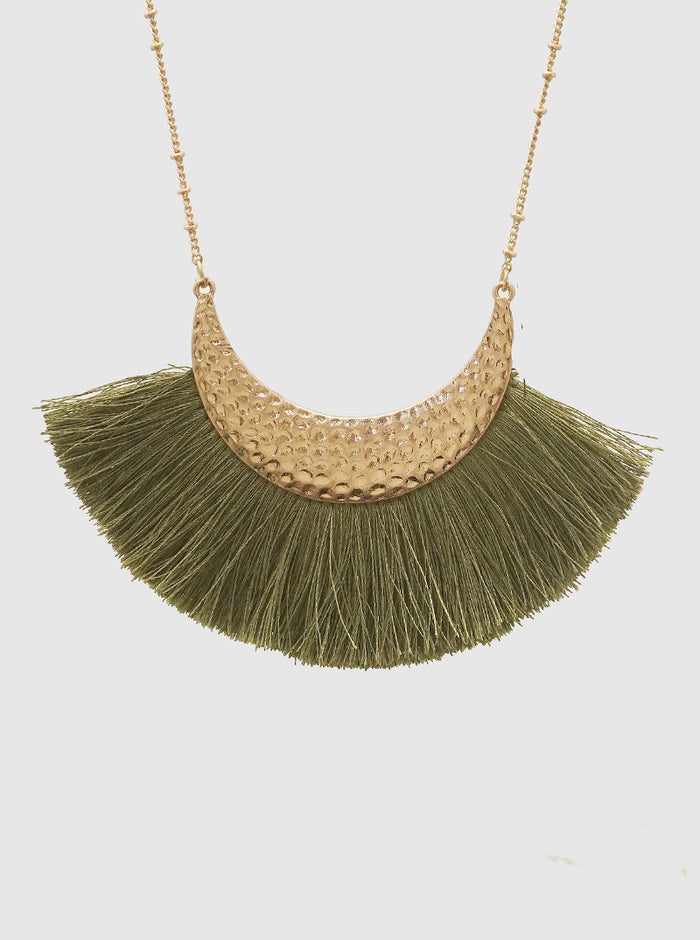 OLIVE GREEN HAMMERED METAL THREAD TASSEL LONG NECKLACE 3
