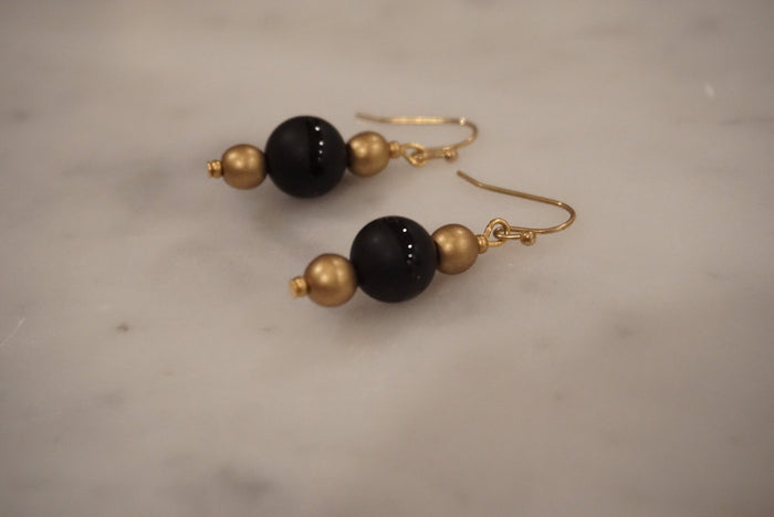 LA2LA Handmade Black & Gold Beaded Earrings