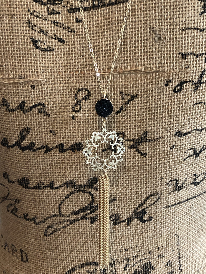 LA2LA Handmade Druzy Filigree Tassel Necklace
