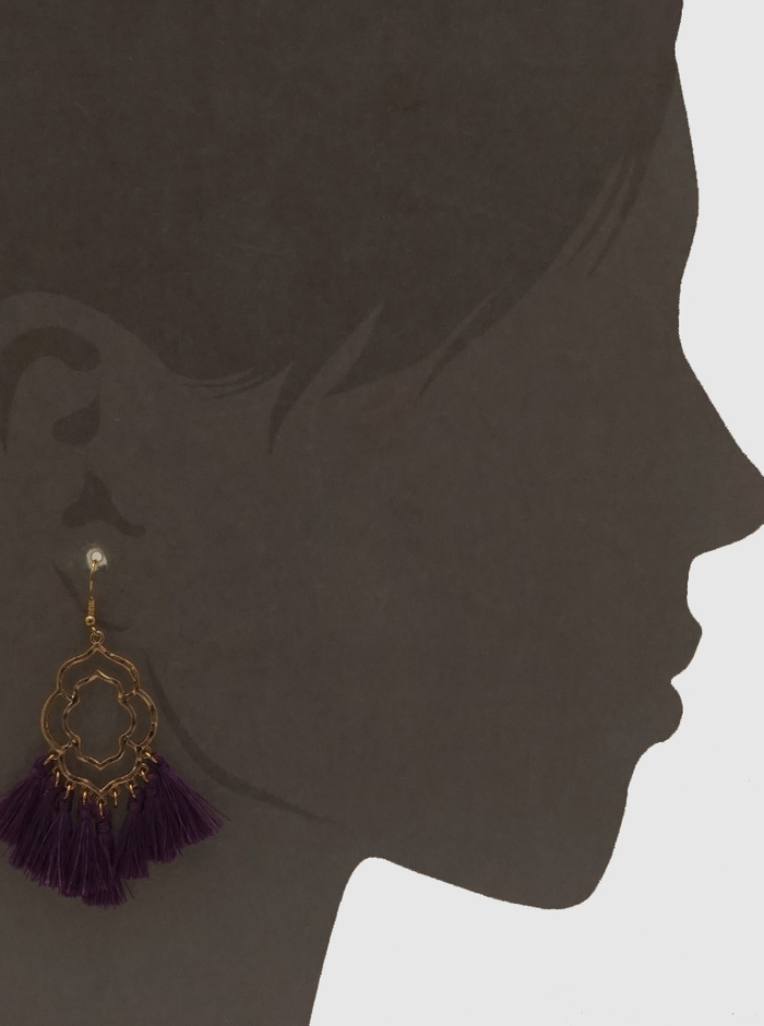 PURPLE DOUBLE ORNATE SHAPE THREAD TASSELS DROP EARRINGS 4